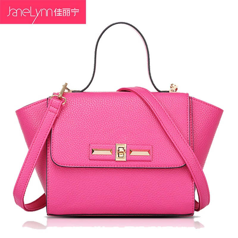 2015 Fashion Lychee Pattern Lockbutton Smile Bags Elegant Women's Trapeze Handbags Female Shoulder Bag(China (Mainland))