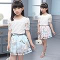 Children s clothing 2016 new summer girls lace Plaid short sleeve blouse short skirt set kids