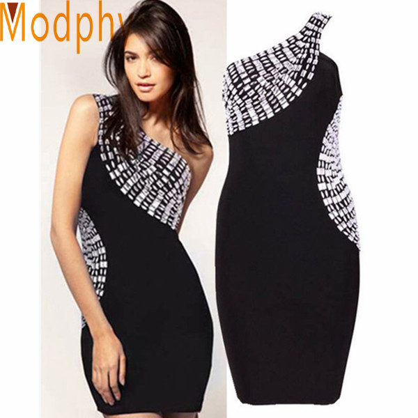 2014 Sexy  Women Celebrity Bandage Dresses Rayon One Shoulder Beading Hot Mini Bodycon Cocktail Party Dress Drop Ship HL339