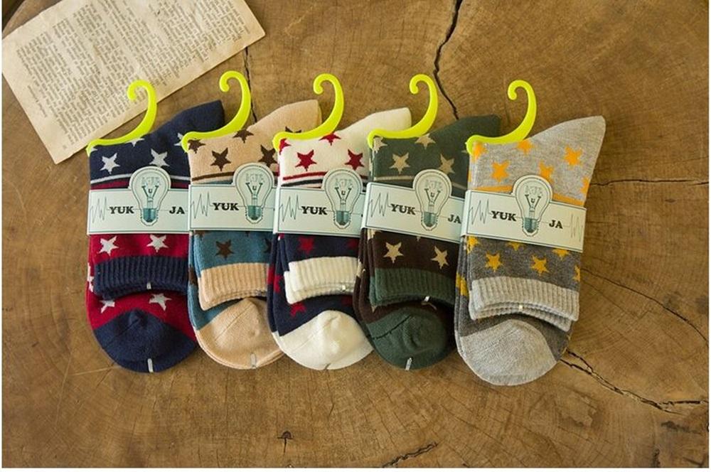 Newest 5 Pairs Soft Men Boy Warm Fashion Cotton Socks Casual Style Stars Pattern(China (Mainland))