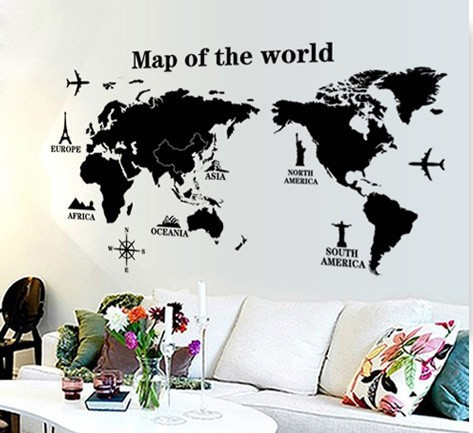 Large black world map wall stickers mural removing vinyl for Removing vinyl wallpaper
