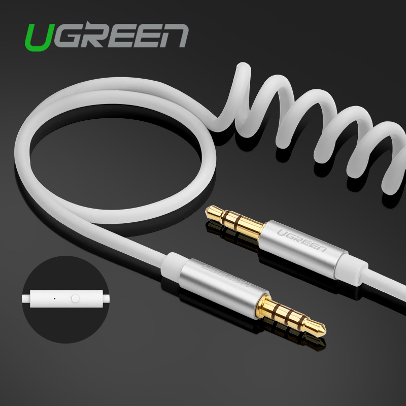 Ugreen 3.5mm Jack to Jack Audio Cable Stereo Coiled Aux Cable with Handsfree Speakerphone in-Line Remove Control for Car Phone(China (Mainland))