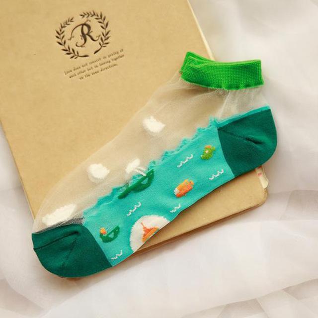 Новые женские носки персонализированные серии океан свежий и прекрасный мультфильм ...
