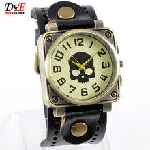 Moda Casual Steampunk negro cuarzo reloj de pulsera para hombre de la antigüedad del cráneo del estilo Lovers ' B121