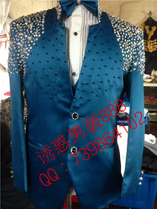 Fashion Men plus size suit top jacket Male singer dj dancer stage show performance slim formal dress customize rhinestone wear(China (Mainland))