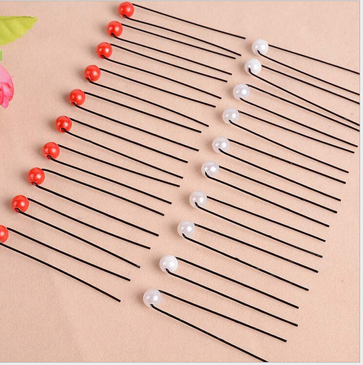 free shipping South Korea and the United States popular monochrome small pearl pin type U hair clip hair hairpin hairpin 10/ set(China (Mainland))