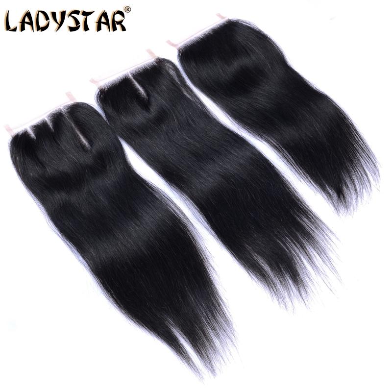LADYSTAR Full Lace Closure Brazilian Straight hair closure 6A Brazilian Virgin Human Hair natural black 3 way middle free part