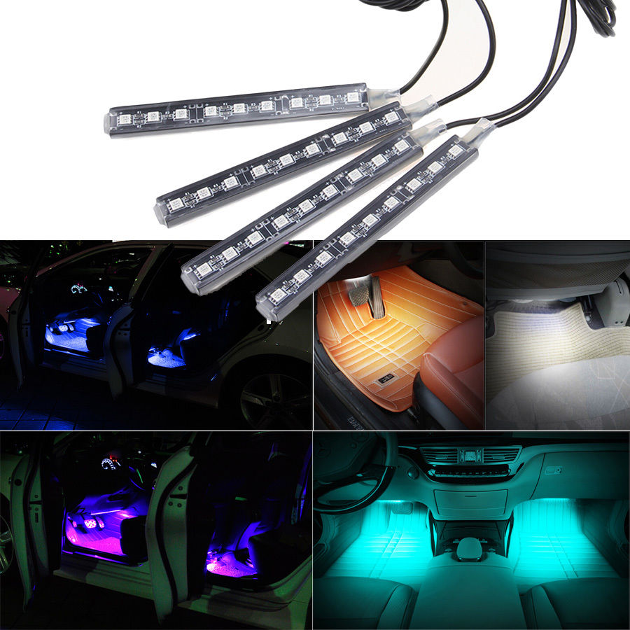 -50% OFF 2016 4-in-1 In Car Auto Charge Interior LED Atmosphere Lights 9-LED Decoration Lamp With Cigarette Lighter Car Styling(China (Mainland))