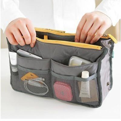 Free Shipping Korea Style Dual Zipper mp3 phone cosmetic storage organizer nylon bag in bag handbag girl women(China (Mainland))