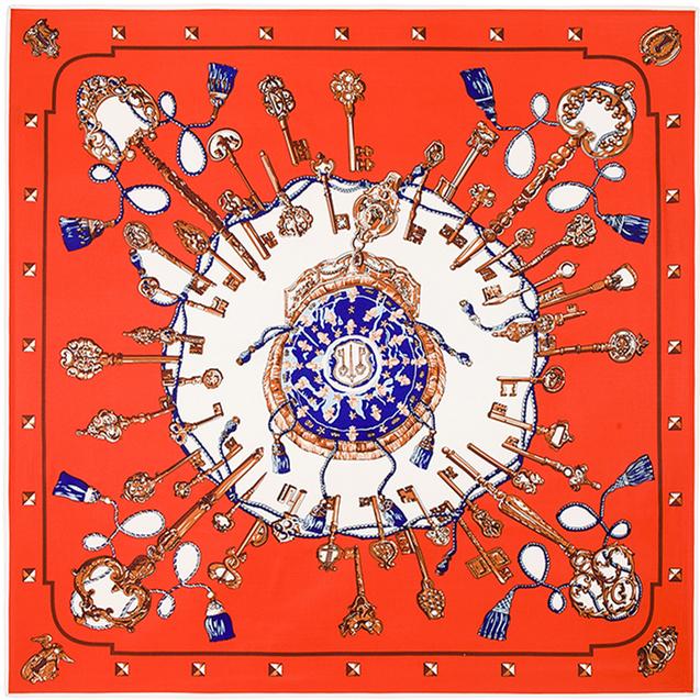 100 см * 100 см саржевые шелковый женщины 100% шелковая старинные металлический брелок печать шарф Femal высокое качество ретро марка H шаль B107