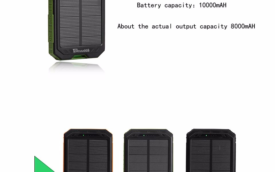 Tollcuudda Solar Mobile Phone Power Bank Cell Pover Portable Charger Battery External Cellphone For Xiao Mi Powerbank 10000mah