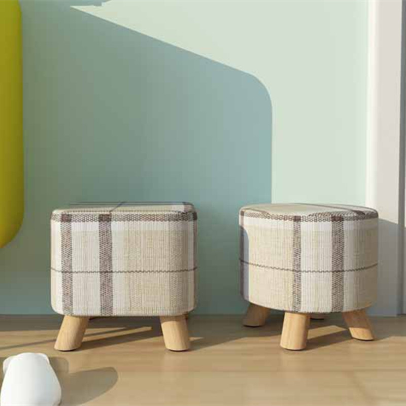 Small stools wooden foot stools modern furniture Round Fabric Sofa Stool Footstool Detachable Fabric changing shoes stoolCSY0736(China (Mainland))