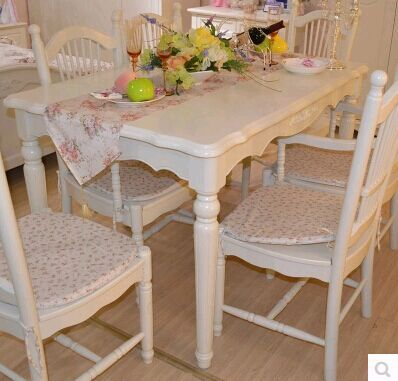 European style Dining table chairs Dinner Room Furniture carving paint assemble cabinet(China (Mainland))