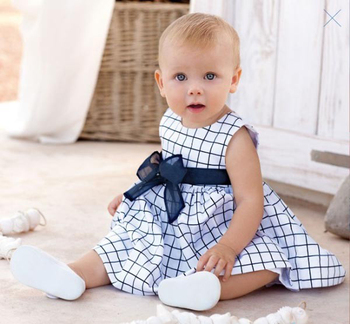 Cute Kids Girl Cotton Toddler Costume Top Bow-knot Plaids Dresses 0-4 Years