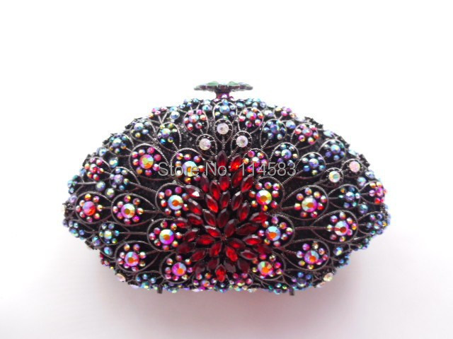 8251A Multi-color Crystal SHELL Floral flower Wedding Bridal Party Night hollow Metal Evening purse clutch bag case handbag<br><br>Aliexpress