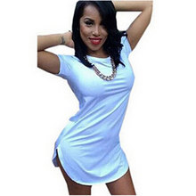Women T Shirt Dresses O Neck Short Sleeve Side Split Summer Dress Casual Dress Vestidos Femininos Plus Size Women Beach Dress(China (Mainland))