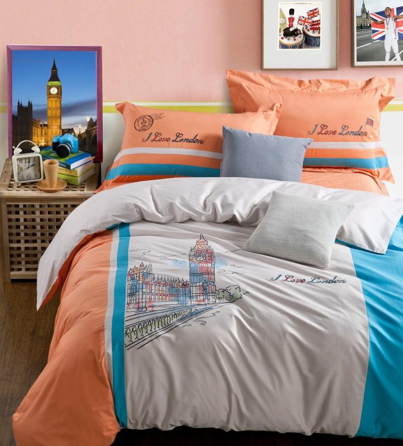 London 100 Cotton 200x230 220x240 High End Embroider Big Ben Grey Decor Home 4pcs Duvet