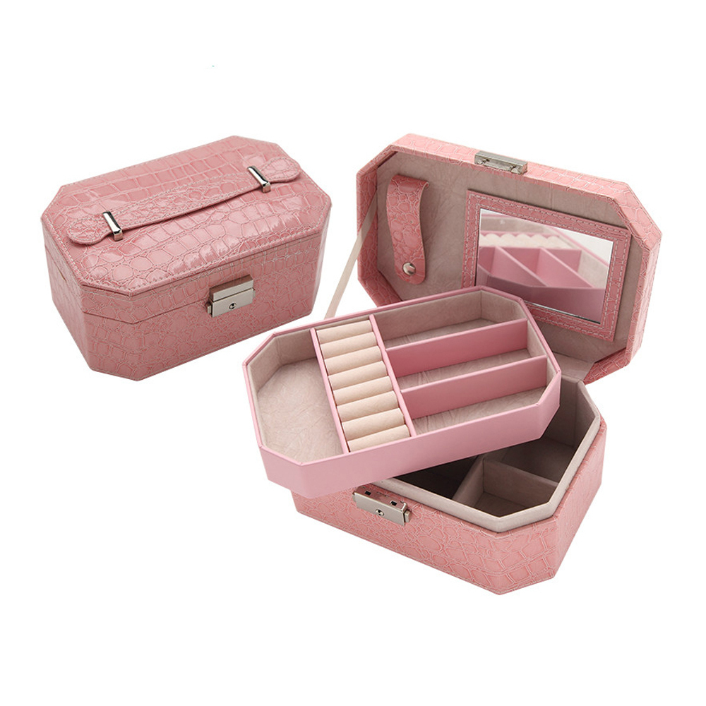 2 Layer Fashion Jewelry Box Case Crocodile Leather PU Lockable Jewel Organizer Casket with Mirror and Velvet Inside(China (Mainland))