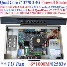 Firewall Router B75 Barebone Router con 6 Gigabit 82583 v Lan Intel Quad Core i7 3770 3.4 Ghz CPU LGA1155