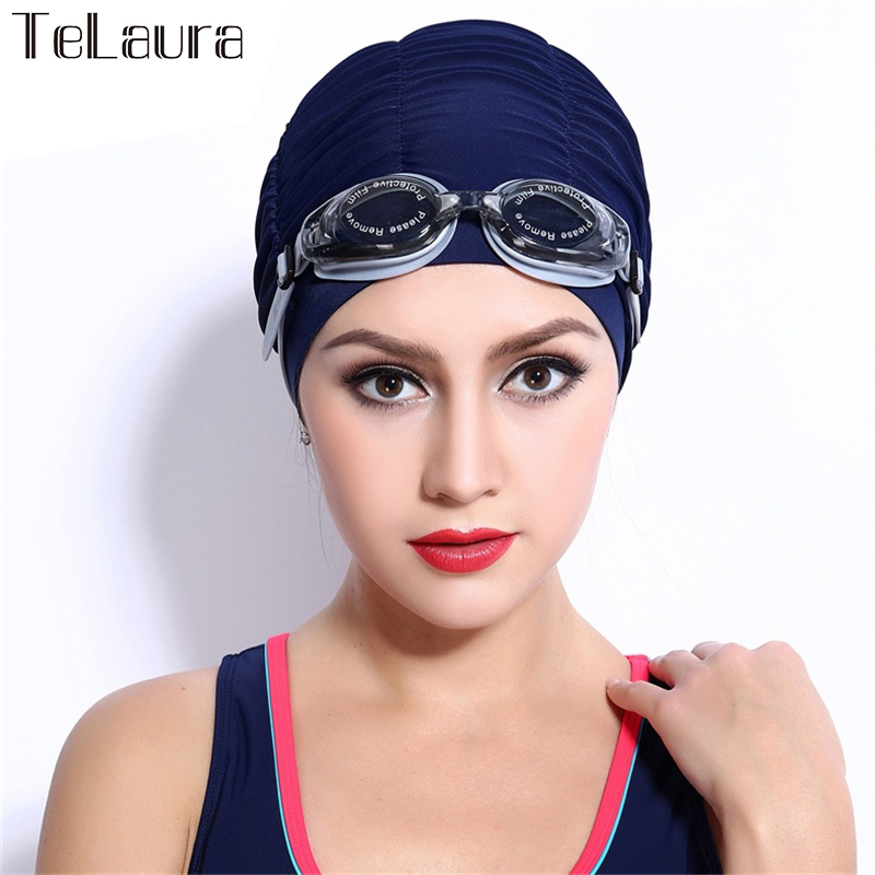 2016 Free Size Fabric Protect Ears Long Hair Sports Siwm Pool Swimming Cap Hat Adults Women Sporty Ultrathin Adult Bathing Caps(China (Mainland))