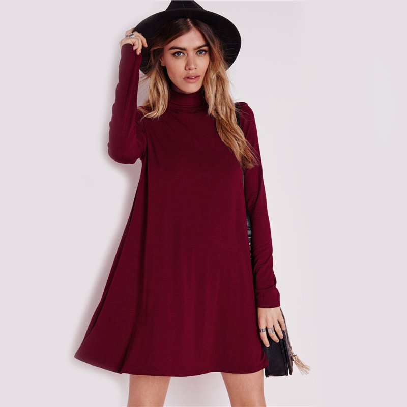 Red black dress 2016 summer women casual vestidos loose long sleeve turtleneck office t shirt casual dress cotton ladies dresses(China (Mainland))
