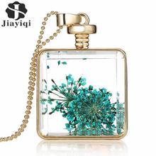 2015 Collares Blue Dried Flower Crystal Glass Square Pendant Necklace Long Gold Chain Statement Necklace Women Fine Jewelry