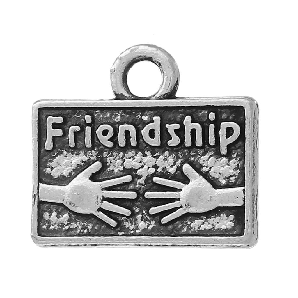 "Charm Pendants Rectangle Antique Silver Hands Message Pattern "" Friendship "" 15mm(5/8"")x 13mm(4/8""),20 PCs 2015 new(China (Mainland))"