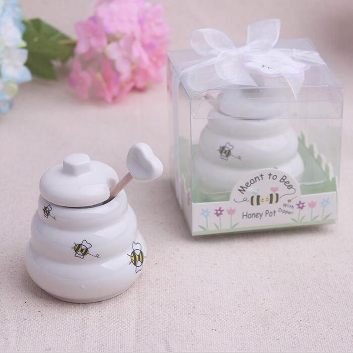 "New Arrival ""Meant to Bee"" Ceramic Honey Pot Wedding Gift Porcelain Honey Jar Wedding gifts and Favors Supplies Party Souvenirs(China (Mainland))"