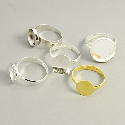 Brass Pad Ring Base Findings, Adjustable, Mixed Color, 16~17mm, Tray: 10~12mm(China (Mainland))