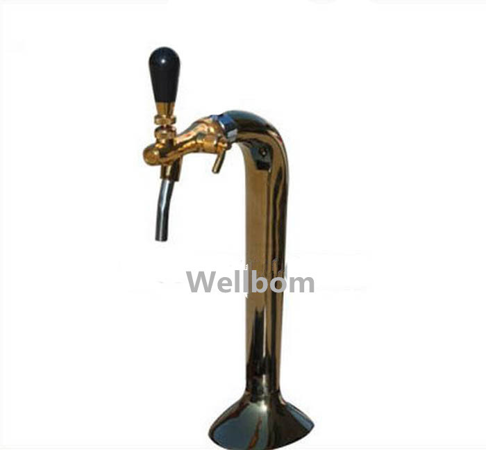 New Chrome Plated titanium Single Faucet Snake beer tower with one brass beer tap, for European Flow Control Type Tap(China (Mainland))