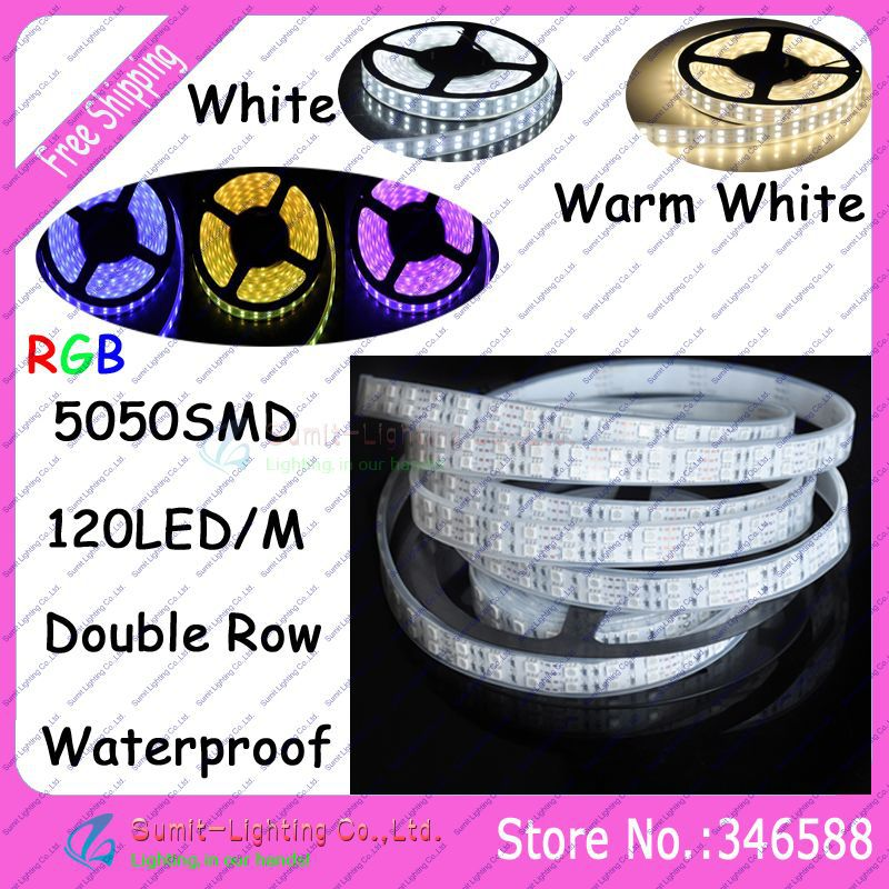 5M/Roll 600LEDs 5050SMD DC12V 120led/m Double Row Flexible LED Strip IP65 Silicone Tube Waterproof, white/warm white/RGB Color(China (Mainland))