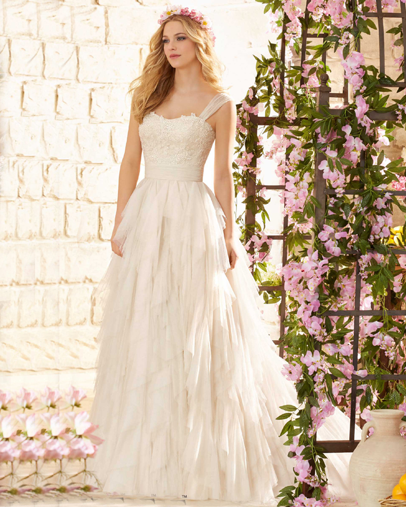 Weddingdress Ruffle Tulle Vestidos De Novia 2016 Cheap Price New Arrival Wedding Dresses Italy with Straps In Garden Sweep Train(China (Mainland))