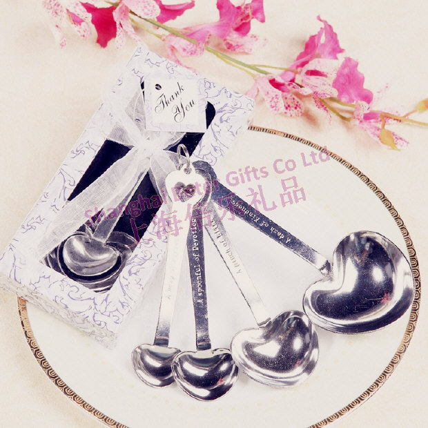 Free Shipping 50box Violet box Heart Measure Spoons, Bachelorette party Supplies BETER-WJ005/C bachelor favors(China (Mainland))