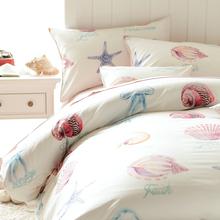 Mediterranean ocean starfish bedding set teens children,twin full cotton marine home textiles flat sheet pillow case duvet cover(China (Mainland))