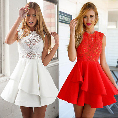 Sexy Ladies Vintage Lace Sleeveless Formal Cocktail Mini Party Dress UK(China (Mainland))