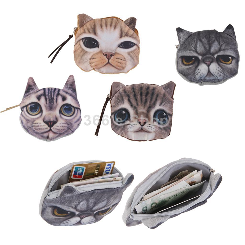 Kids Cute Cat Face Zipper Case Coin Womens Purse Wallet Makeup Bag Pouch<br><br>Aliexpress