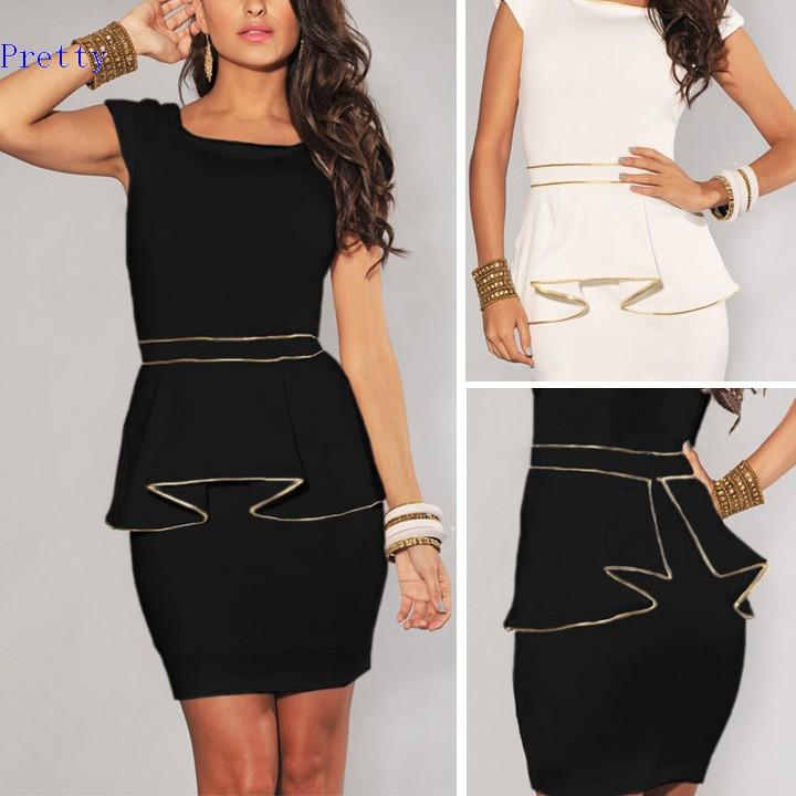 Plus Size Dress New Fashion Women Vintage Gold Edge Peplum Casual Dress Elegant OL Work Dress Black/White M L XL(China (Mainland))