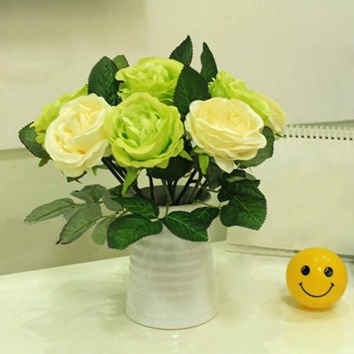 2015 Hot Sale 1 PC Artificial Silk Rose Fake Flower Leaf Bridal Bouquet Home Wedding Decor