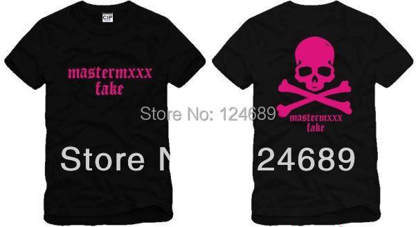 Free shipping Chinese Size S-XXXL skull tees Skull print t shirt pink MMJ Fake Skull t shirt 100% cotton 5 color(China (Mainland))