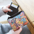 Lovely Cartoon Graffiti Ornament Money Clip Women Fashion Super thin Small Wallet Ladies Korean Style Press
