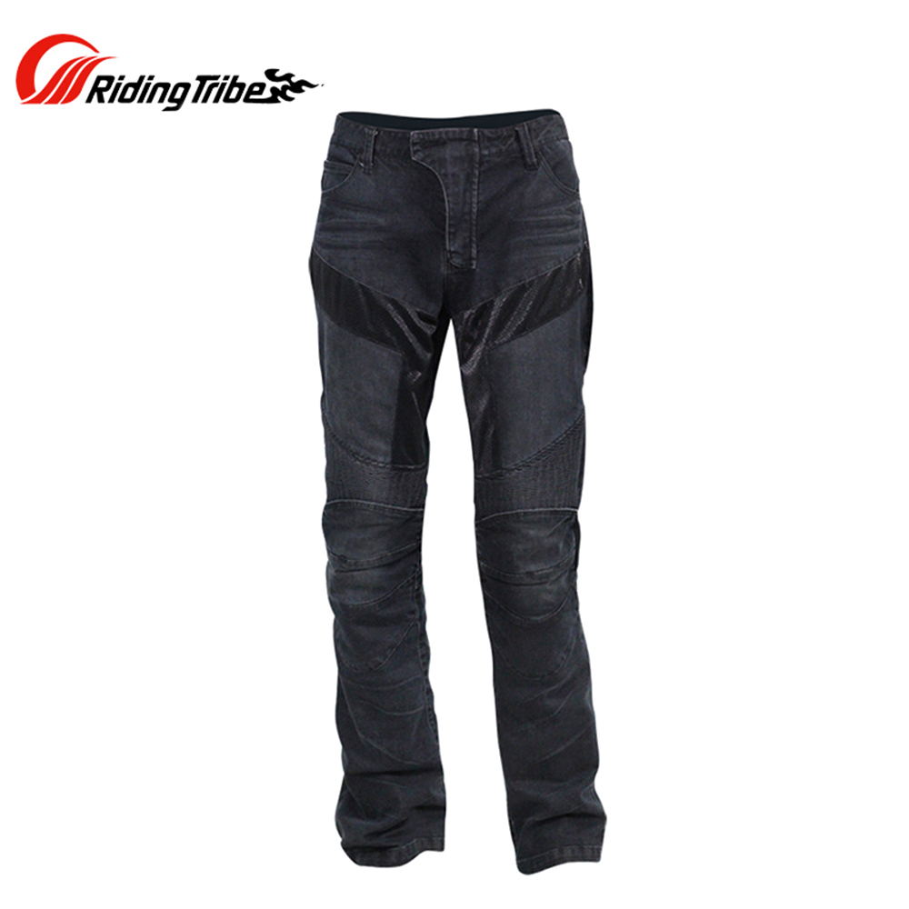 Riding Tribe Motorcycle Racing Jeans Casual Pants Men's Motorbike Motocross Off-Road Knee Protective Moto Jeans Black/blue(China (Mainland))