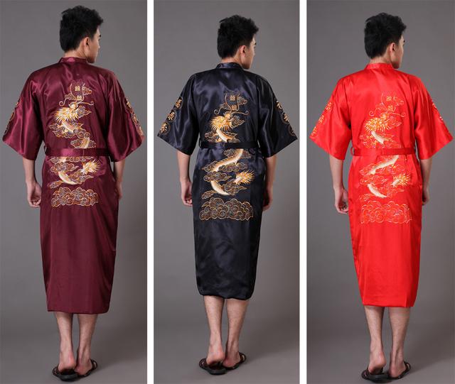 Китайский длинные людей сатин домашний халат вышивка мужской кимоно халате дракона ...