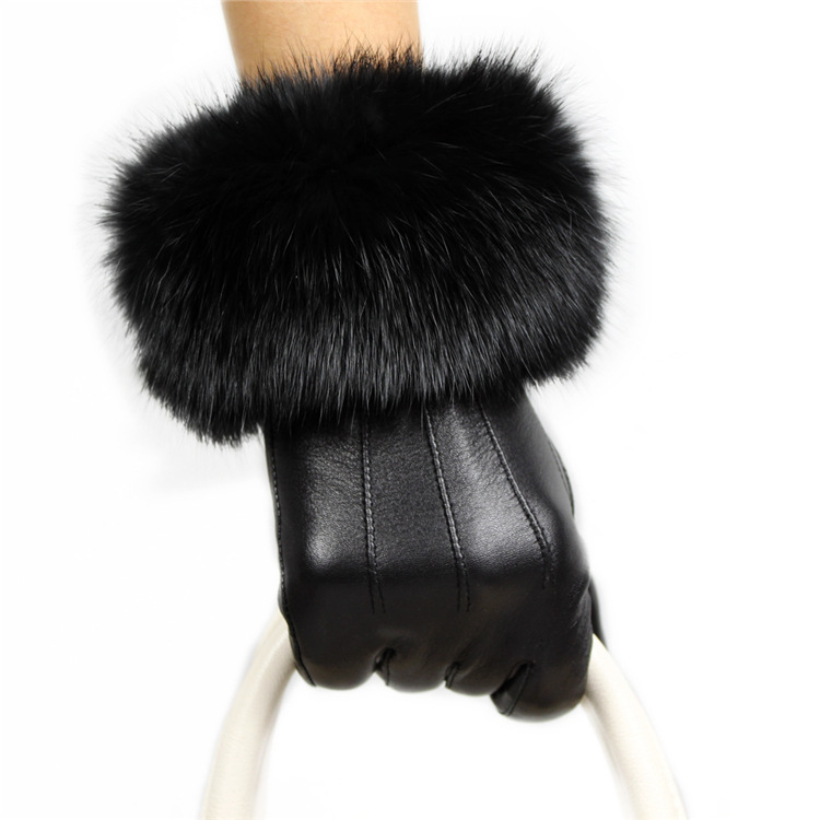 Rex autumn winter wool leather hills sheepskin fashion Lady thick warm gloves - swallow silk road store