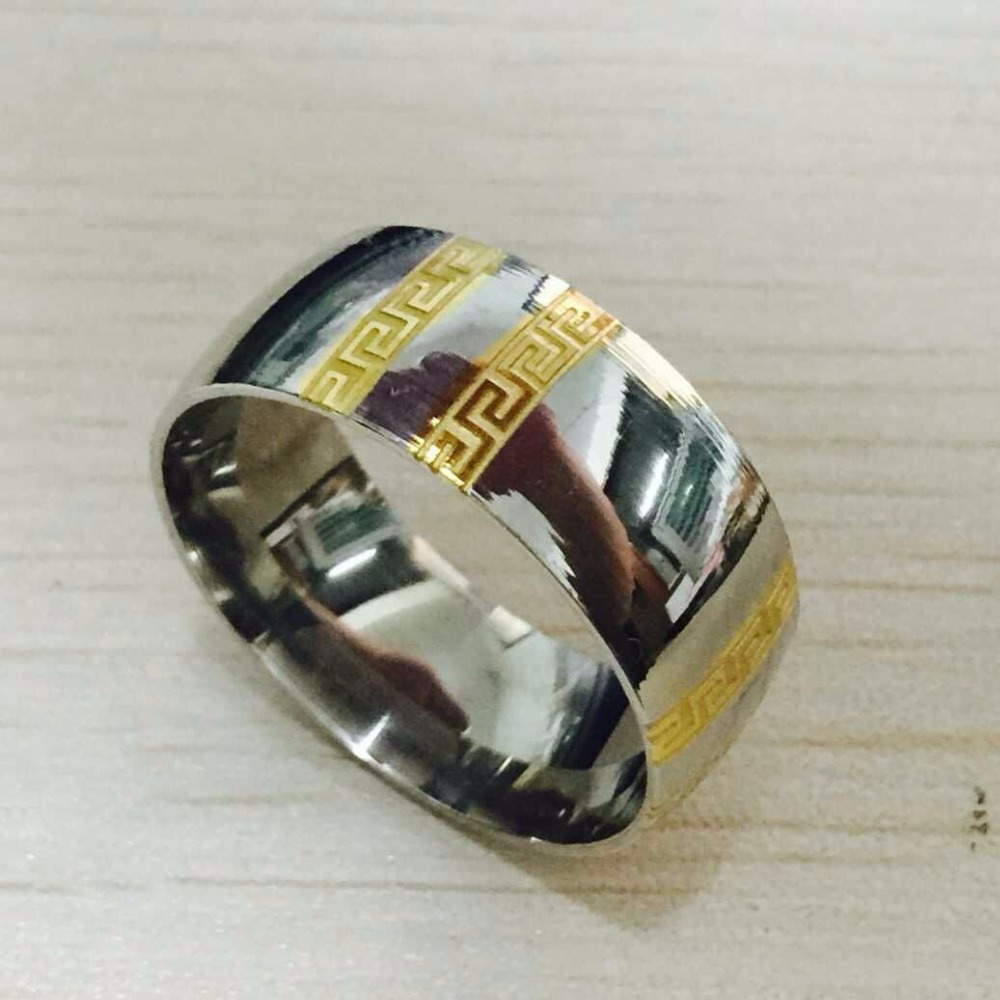 Luxury Brand large wide 8mm 316 Titanium Steel white yellow gold plated greece key wedding band metal ring men women(China (Mainland))