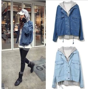 Hoodie Denim Jacket - Coat Nj