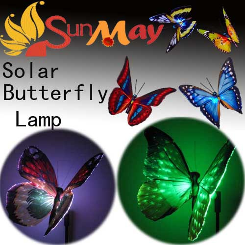 7-Color-Changing Solar craft decoration LED butterfly Landscape Flower Solar panel path Garden Decorative stake Light 8pcs/lot(China (Mainland))
