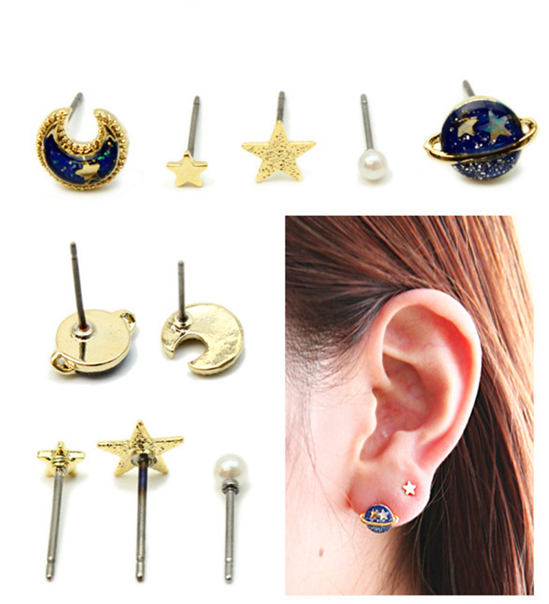 5pcs/1set chic charm earrings for womens jewelry metal enamel planet moon star simulated pearl piercing ear stud brincos(China (Mainland))