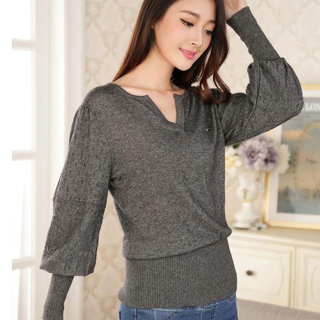Lantern Рукав V - образный вырез Cashmere свитер Вязанный Large Размер Женщины 5 ...