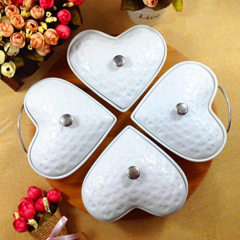 Creative Heart Shape Ceramic Serving Grids Dish Set Decorative Porcelain Division Dinner Plate Tableware Case Craft Accessories(China (Mainland))