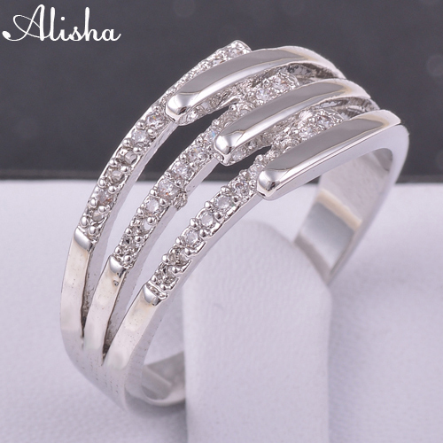 Jewelry Hot Sell Luxury Wedding Engagement Rings Plated 18K Real Platinum Made With Austrian Crystals Rings(China (Mainland))